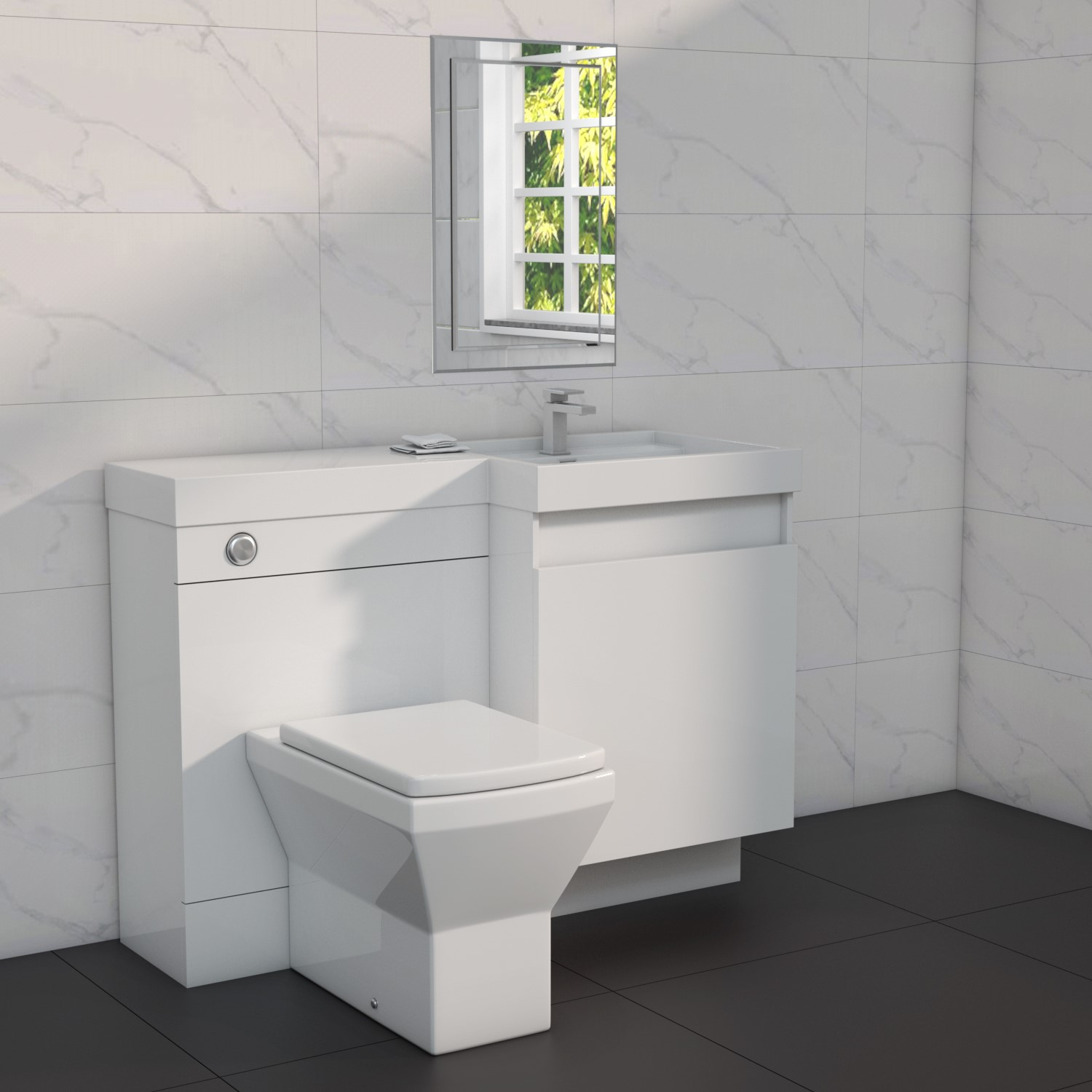 1200mm toilet and basin combination unit 2 drawers white right hand agora