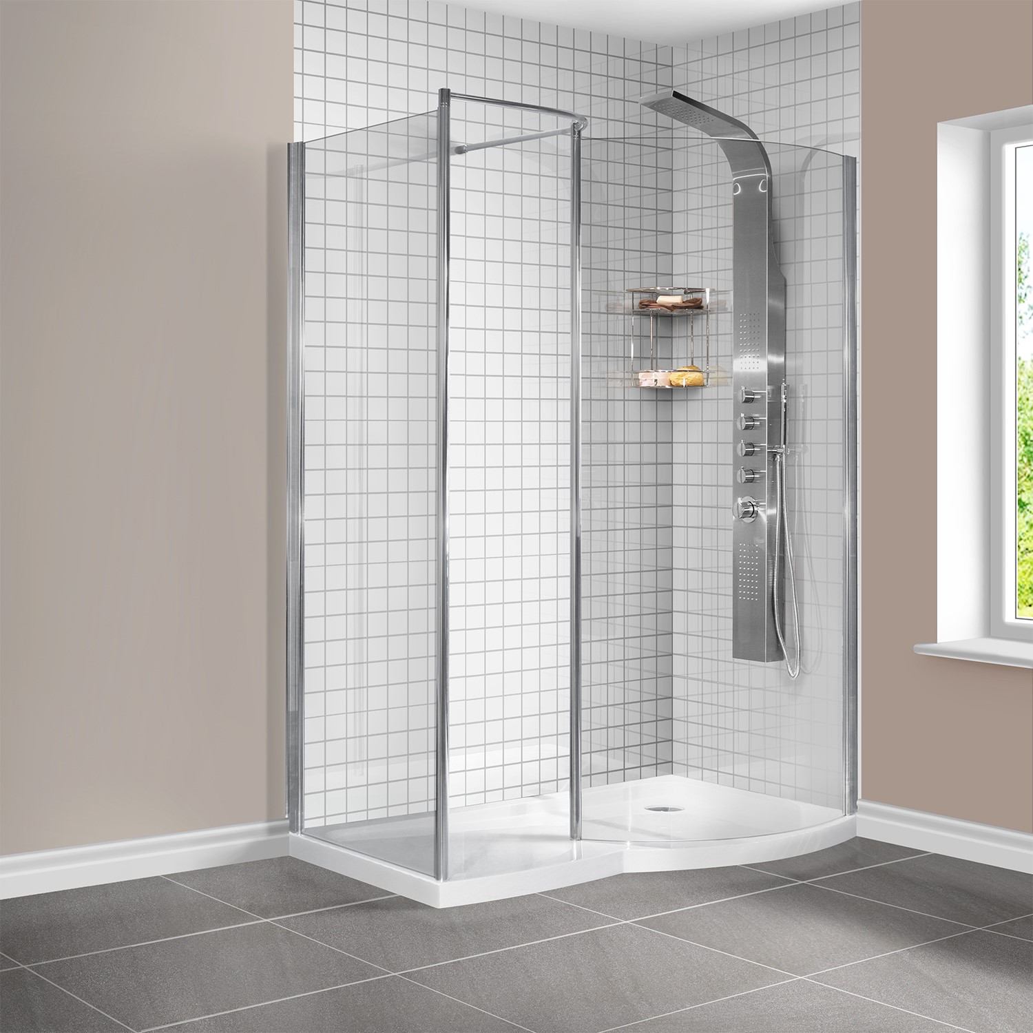 1400 X 900mm Curved Right Hand Walk In Shower Enclosure With Shower Tray