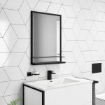 500 X 700mm Rectangle Black Frame Mirror With Shelf Iona Better Bathrooms