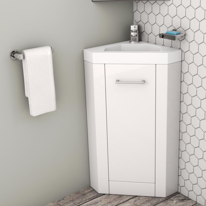 400mm white freestanding vanity unit with basin apollo