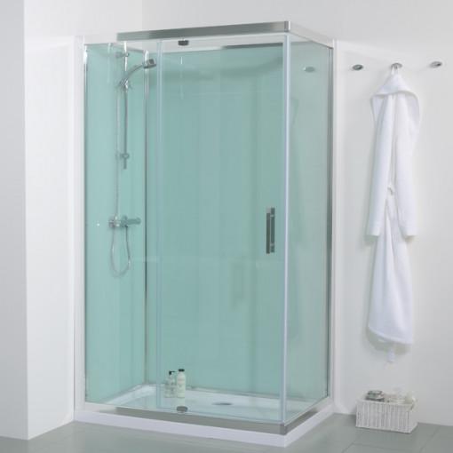 1200 X 800 Quatro Shower Cabin With Aqua White Back Panels