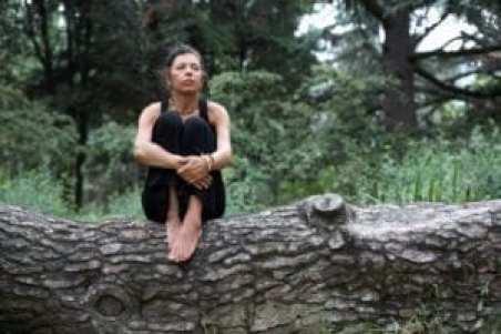 woman sitting on fallen tree in woods