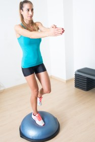 bosu ball single-leg jump and balance exercise