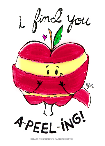 """Free Printables - Funny Valentines with Food Puns - """"I Find You A-Peel-ing"""" apple by Hearts and Laserbeams 