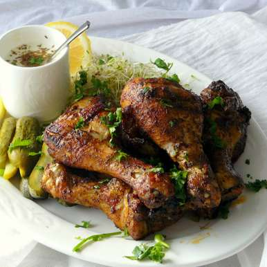 Grilled Chicken Drumsticks with Coffee Spice Rub