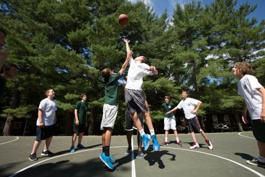berkshire kids playing basketball at summer camp