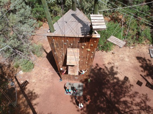 ropes course and climbing wall