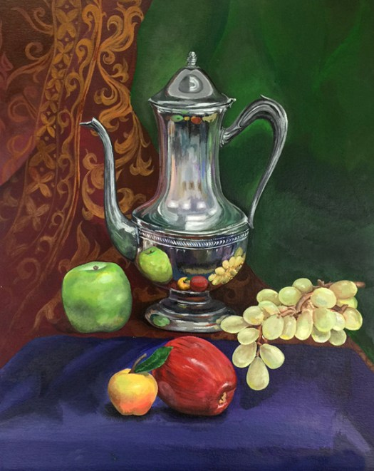 Colored drawing of an antique tea kettle