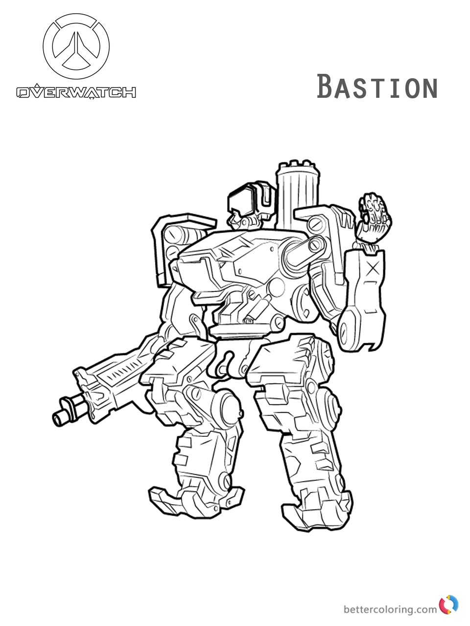 Bastion From Overwatch Coloring Pages Free Printable
