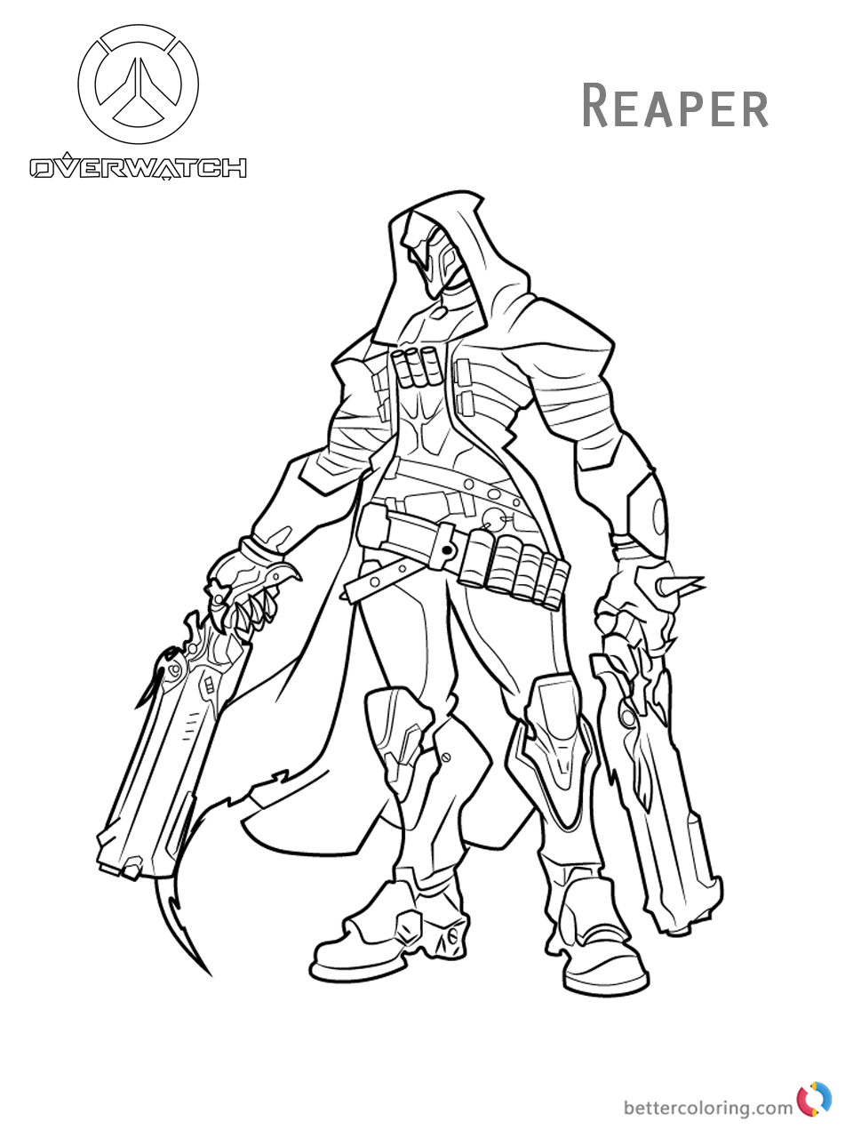 Reaper From Overwatch Coloring Pages Free Printable