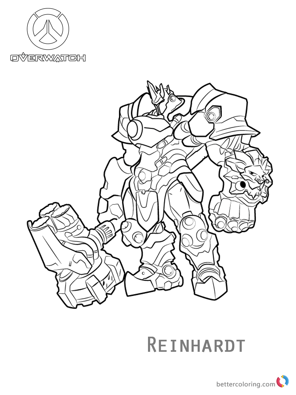 Reinhardt From Overwatch Coloring Pages Free Printable