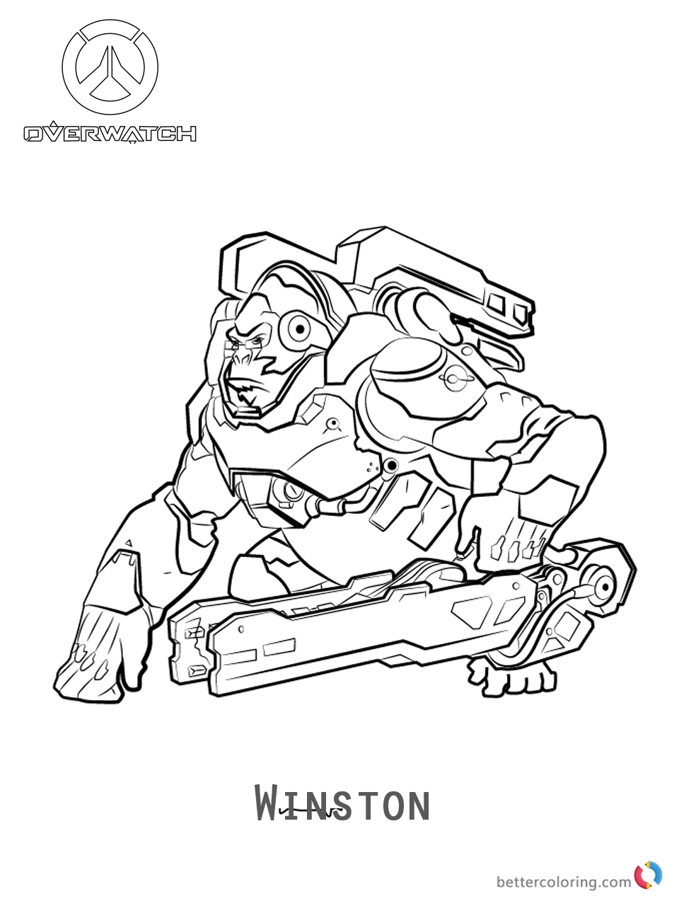 Winston From Overwatch Coloring Pages Free Printable