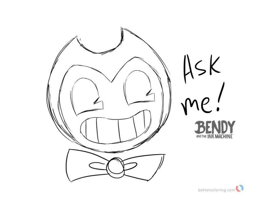 bendy and the ink machine coloring pages ask bendy  free