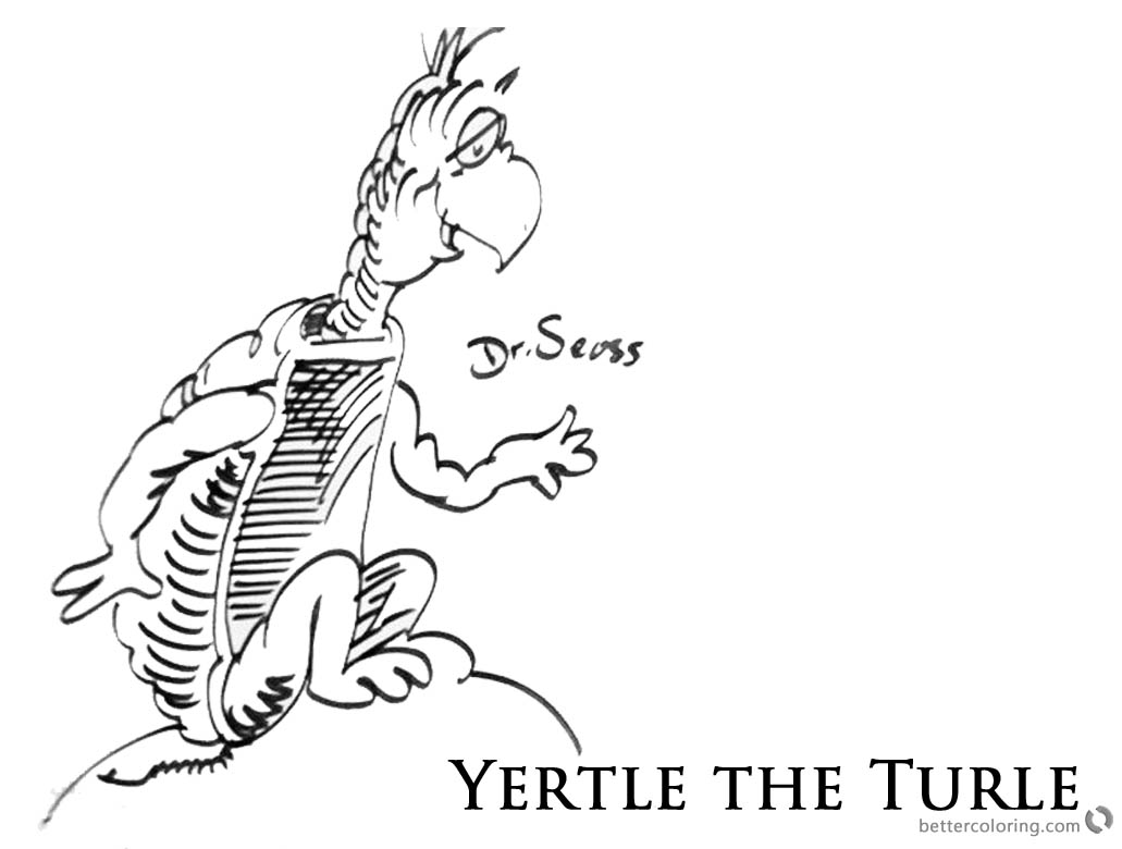 Dr Seuss Yertle The Turtle Coloring Page Sitting On A Rock