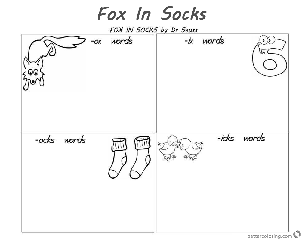 Fox In Socks By Dr Seuss Coloring Pages Reading And