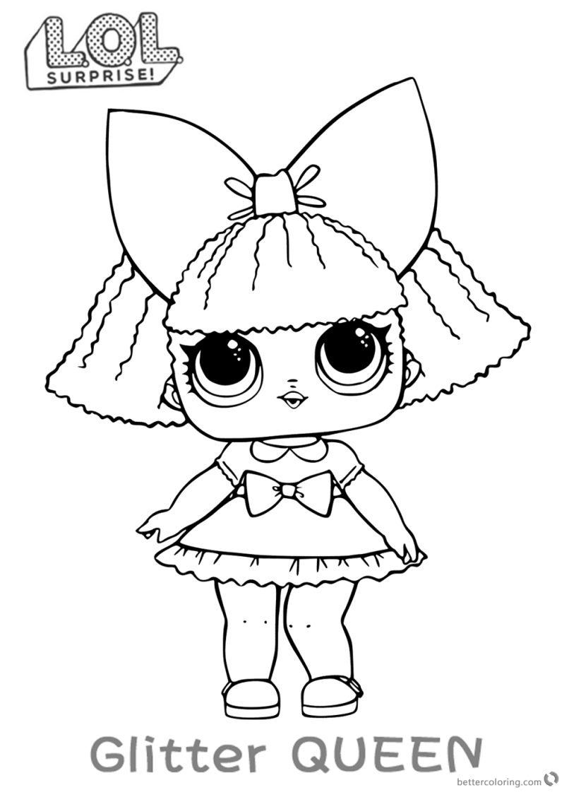 Lol surprise doll coloring pages glitter queen free printable