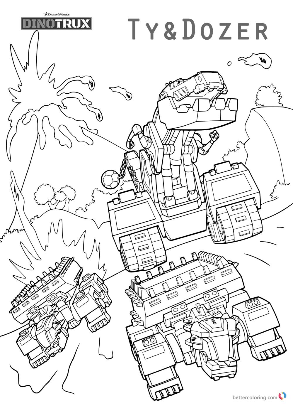 Dinotrux Coloring Pages Ty And Dozer Free Printable