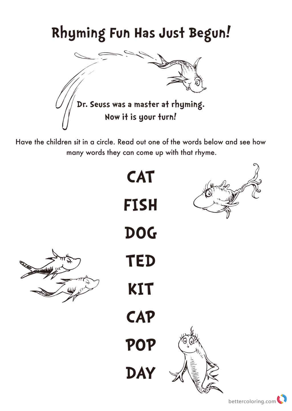 Dr Seuss Coloring Pages Rhyming Fun