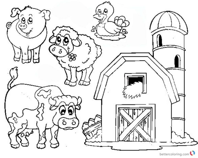barn coloring pages farm animals  free printable coloring