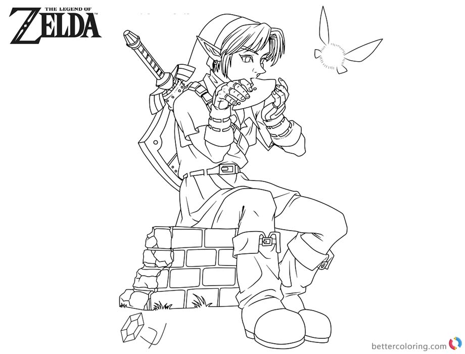 Legend Of Zelda Coloring Pages Link Playing Music Free