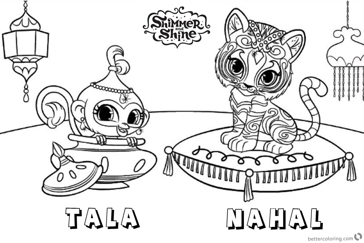 Shimmer And Shine Coloring Pages Pet Tiger And Monkey