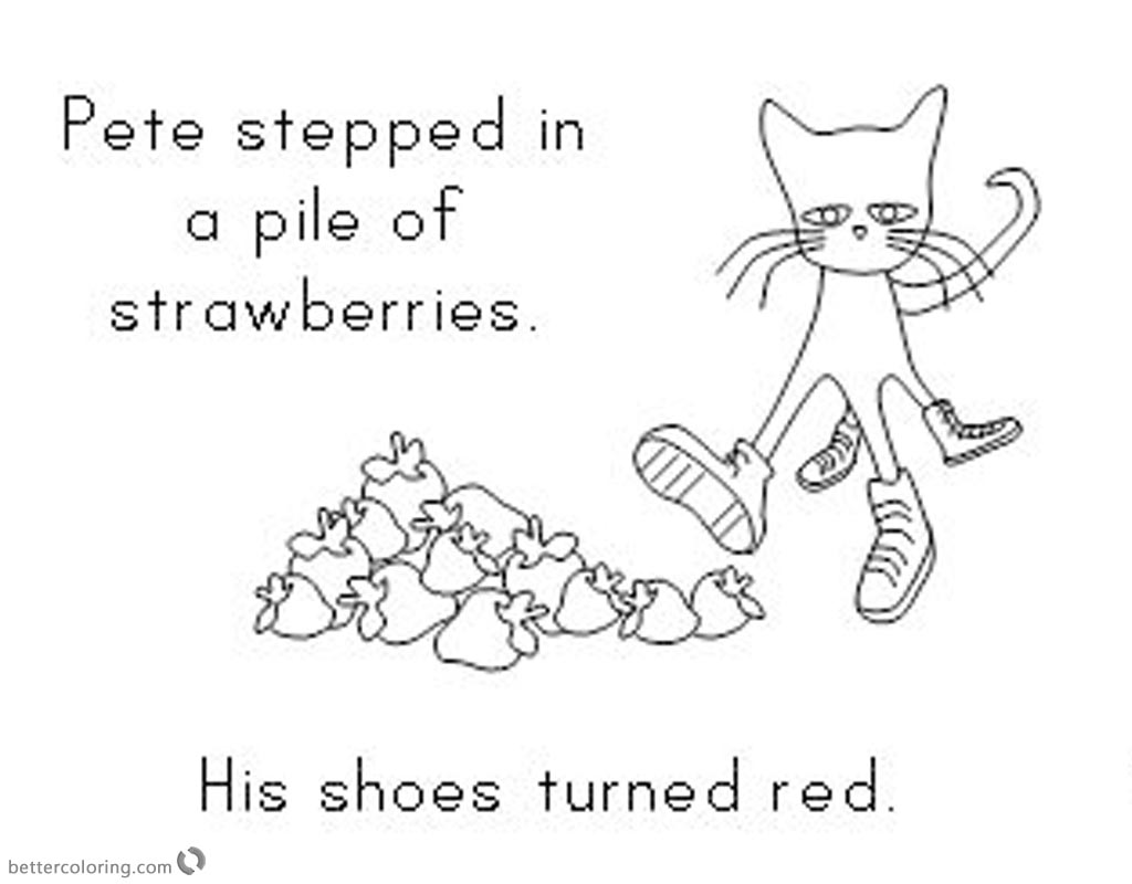 Pete The Cat Coloring Pages Turn Shoes In Red