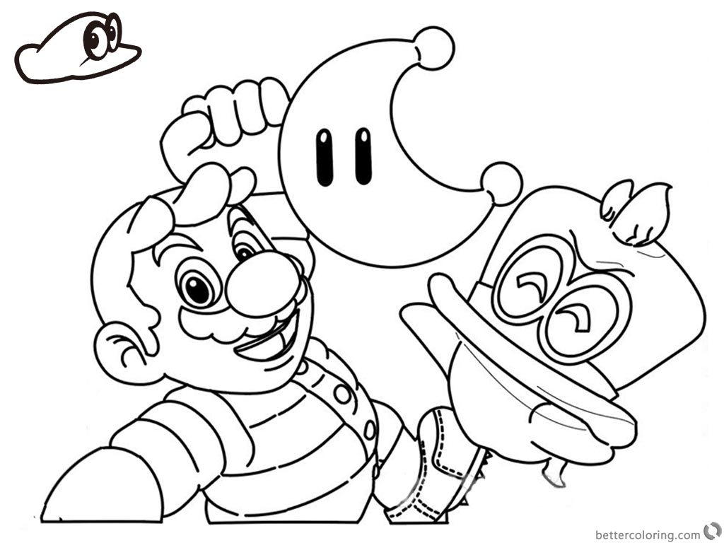 Super Mario Odyssey Coloring Pages Funy Line Drawing