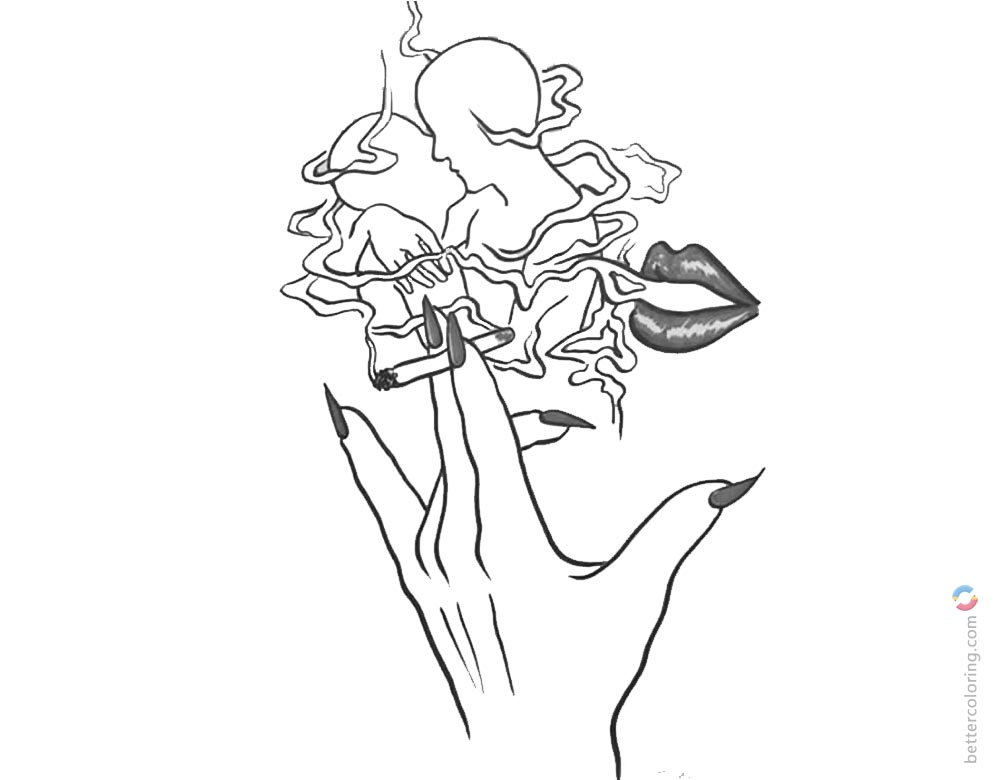 Weed Coloring Pages Love And Marijuana Somking Free