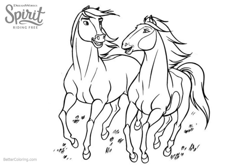 horses from spirit riding free coloring pages  free