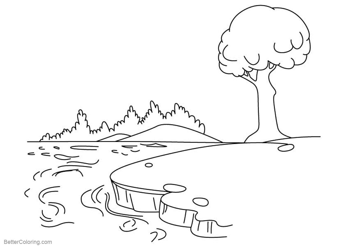 Pond Scene Page Coloring Pages