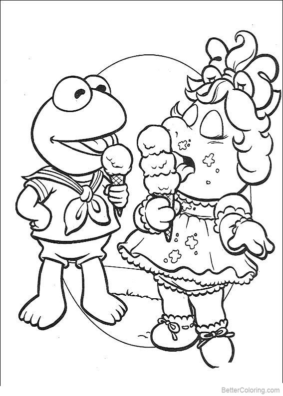 muppet babies mrs piggy coloring pages ice cream  free