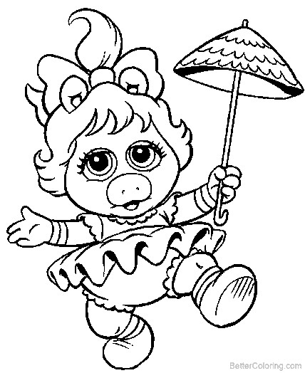 muppet babies mrs piggy coloring pages  free printable