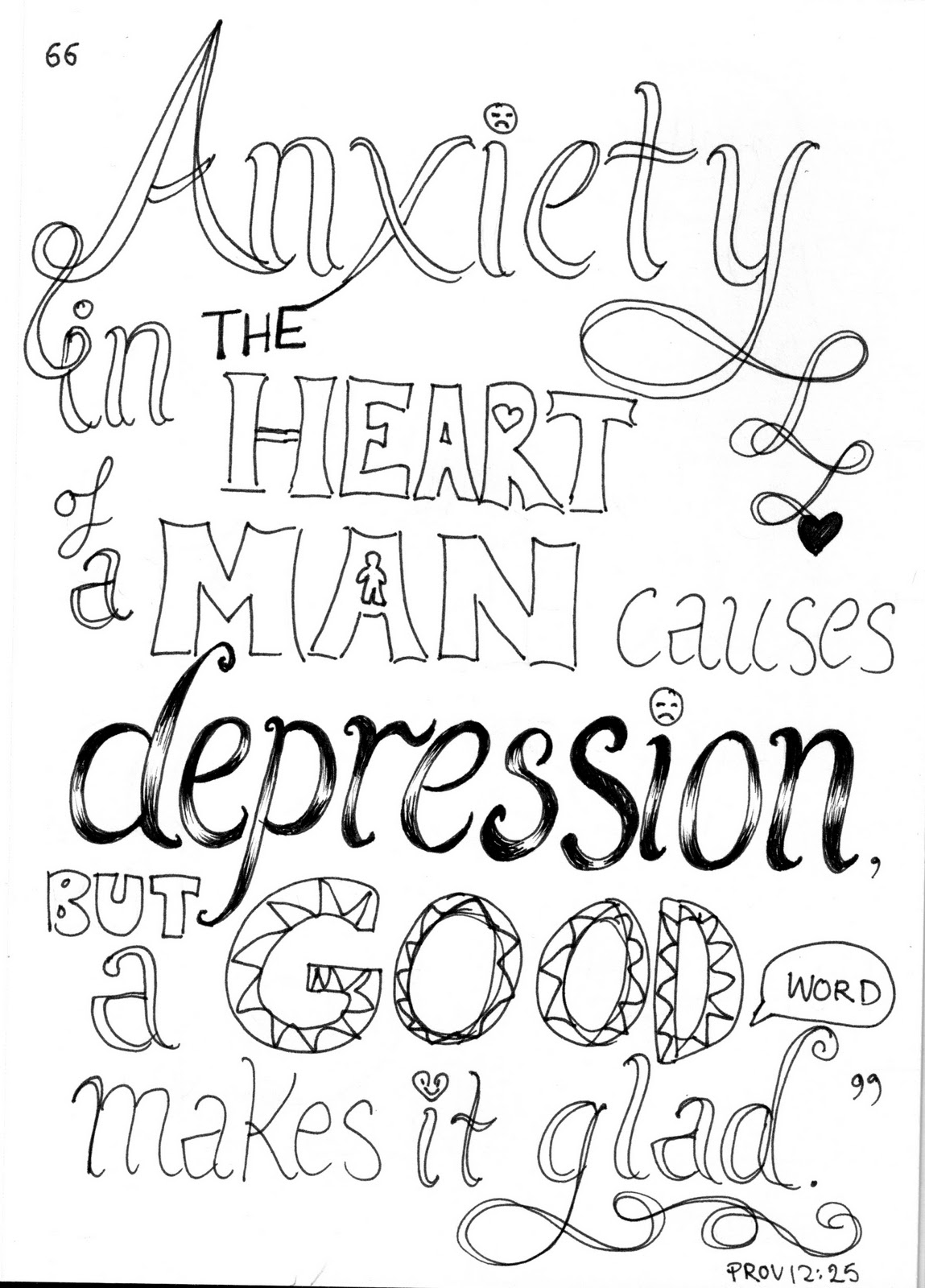 Bible Verse Coloring Pages Quote Anxiety In Heart