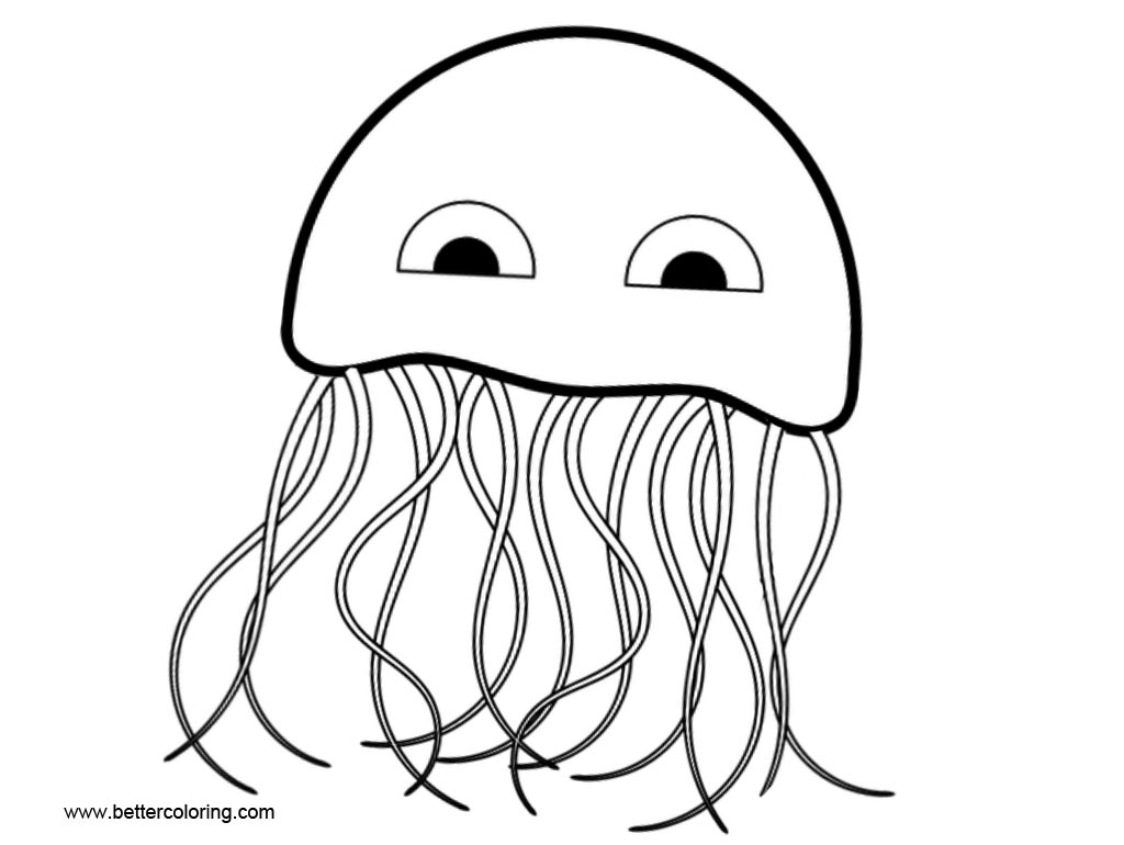 Cartoon Jellyfish Coloring Pages Clip Art
