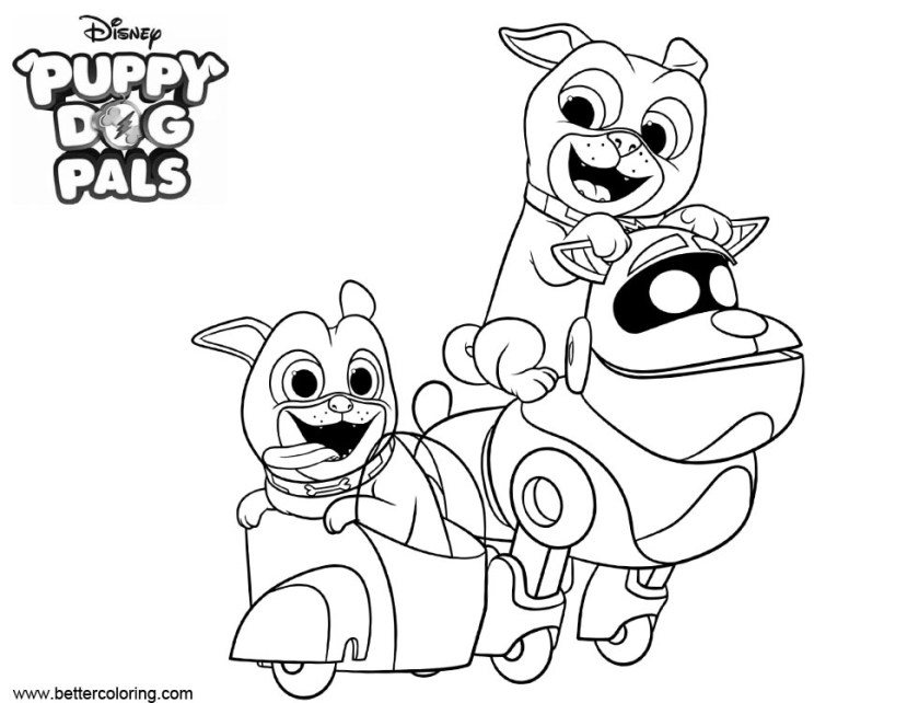 puppy dog bingo characters coloring pages  free printable