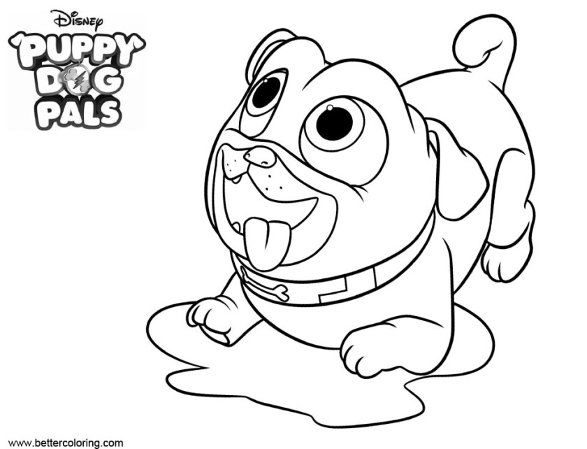puppy dog pals coloring pages wait for food  free