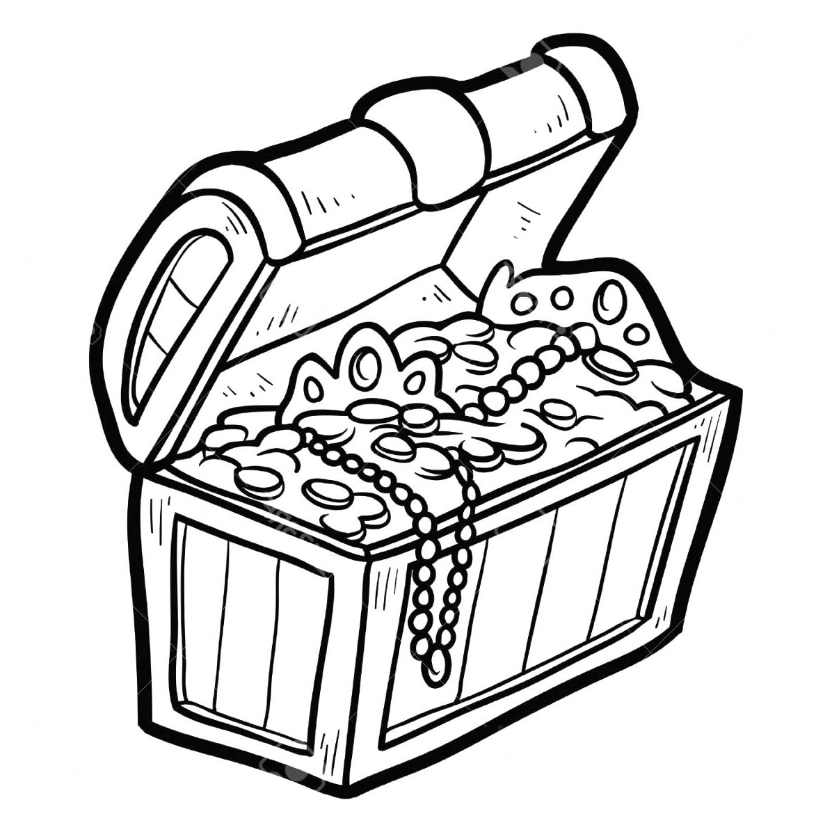 Treasure Chest Coloring Pages Black And White