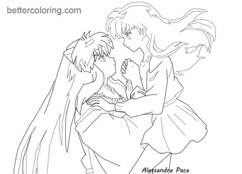 inuyasha and kagome coloring pages sketch coloring page