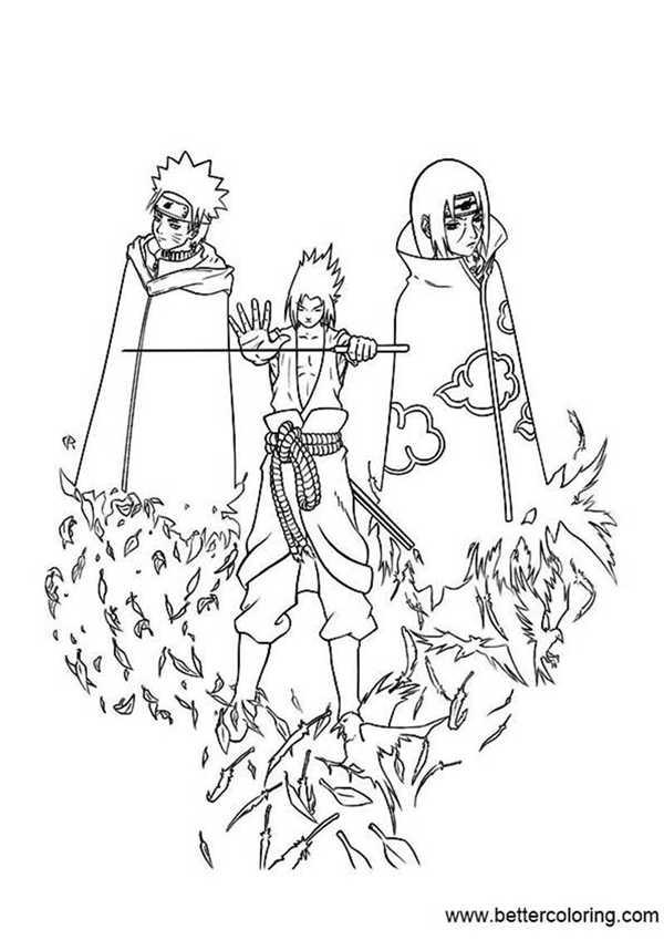 sasuke itachi and naruto coloring pages  free printable