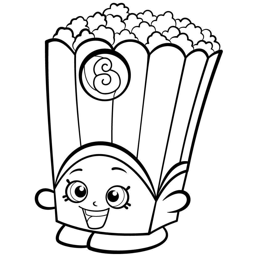 Shopkins Coloring Pages Easy Black And White Popcorn Box