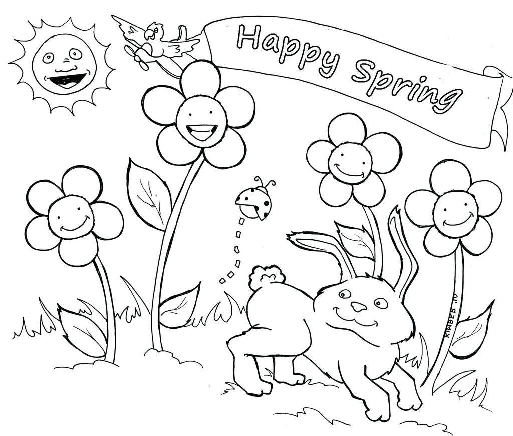 Springtime Coloring Pages Spring In Worksheet