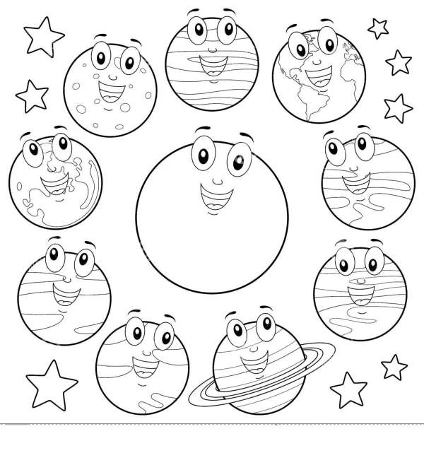 Eight Planets Coloring Pages Cartoon Sun Free Printable