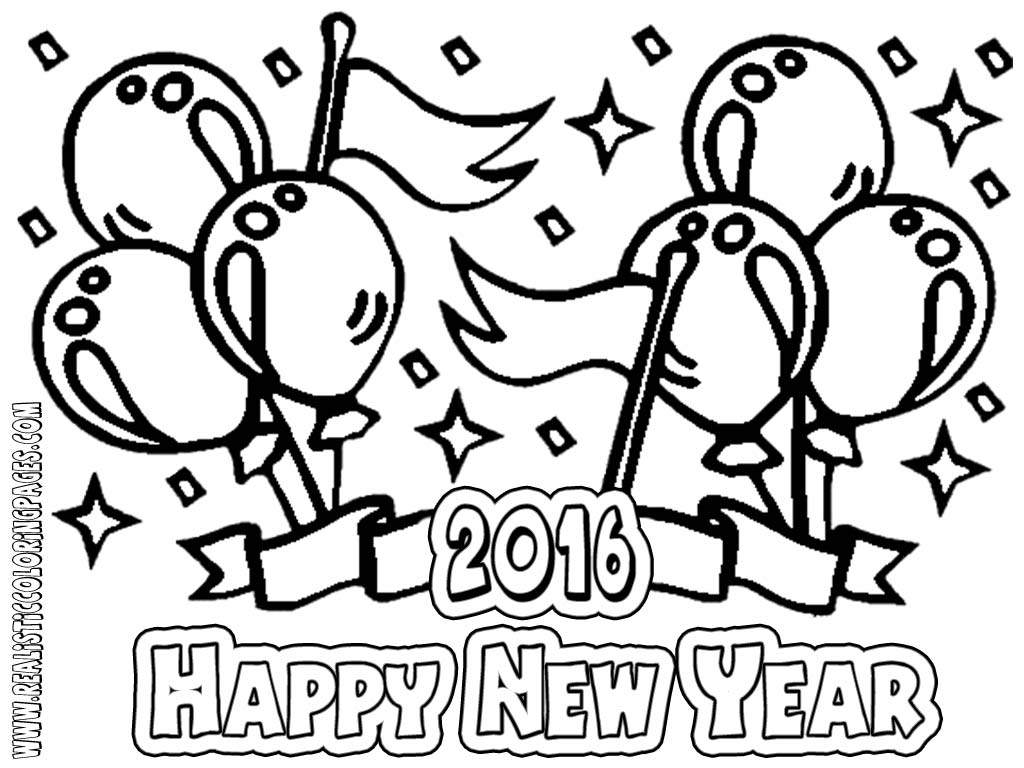 Happy New Year Coloring Pages Tractive Sunday For Preschool