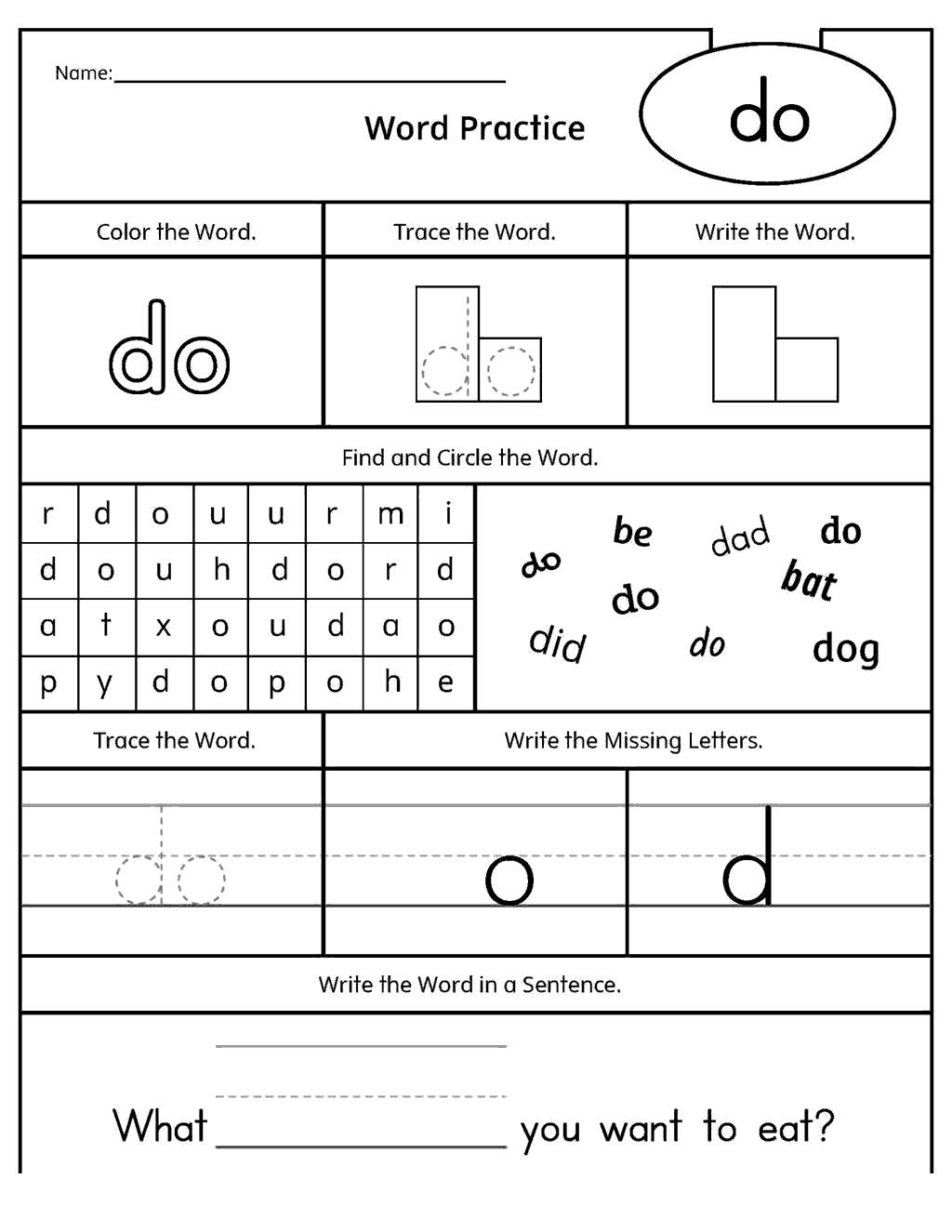 First Grade Sight Word Coloring Pages Linear