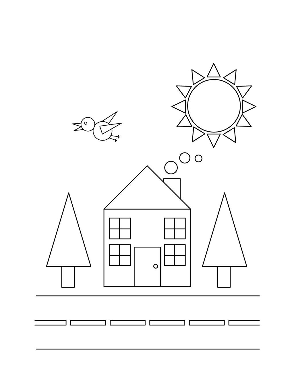 House Shapes Coloring Pages
