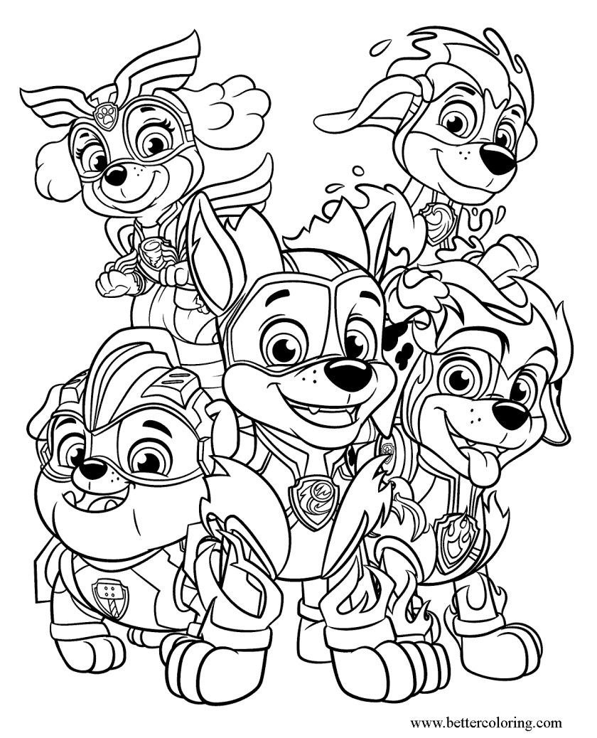 mighty pups coloring pages  free printable coloring pages
