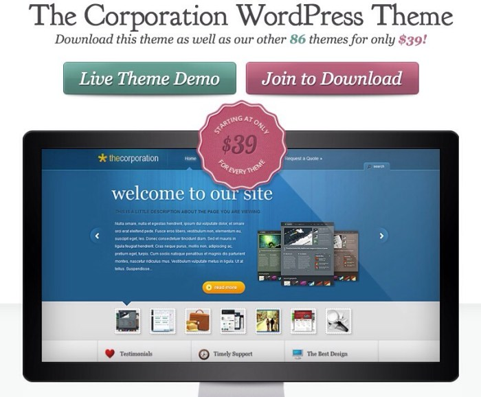 professional WordPress theme for business - The Corporation