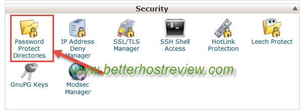 cpanel security password protect directories