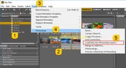 load files into photoshop as layers via bridge