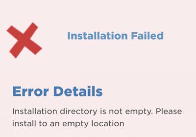 WordPress installation directory is not empty error and fix